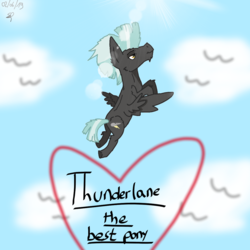 Size: 1080x1080 | Tagged: artist:speedy draw, best pony, cloud, digital art, effects, flying, heart, pegasus, safe, scketch, sky, solo, thunderlane