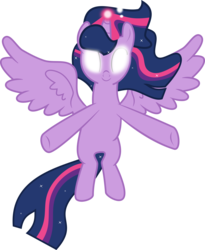 Size: 6146x7503 | Tagged: alicorn, artist:digimonlover101, etheral mane, female, floating, glowing eyes, glowing horn, horn, mare, pony, safe, season 9, solo, spoiler:s09e01, spoiler:s09e02, spread wings, the beginning of the end, twilight sparkle, twilight sparkle (alicorn), windswept mane, wings