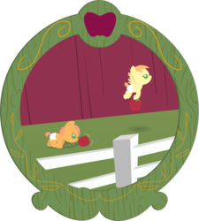Size: 2460x2730   Tagged: safe, anonymous artist, oc, oc:crabapple cider, oc:summer breeze, earth pony, pegasus, pony, series:fm holidays, apple, baby, baby pony, barn, brother and sister, colt, father's day, female, fence, filly, food, freckles, hoof hold, lineless, male, offspring, parent:big macintosh, parent:fluttershy, parents:fluttermac, picture frame, pushing, rolling, siblings, sweet apple acres