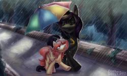 Size: 2011x1210 | Tagged: safe, artist:enderselyatdark, oc, oc only, oc:enderdan t'dark, oc:selya t'dark, alicorn, pegasus, pony, alicorn oc, cute, horn, park, pegasus oc, pegasus wings, rain, rcf community, umbrella, wings