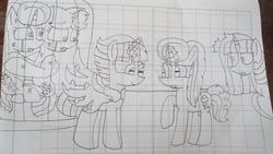 Size: 5312x2992 | Tagged: safe, artist:徐詩珮, pony of shadows, oc, oc:betty pop, oc:fire shadow, oc:spring legrt, oc:storm lightning, oc:vesty sparkle, alicorn, pony, unicorn, alicorn oc, female, half-siblings, lineart, magic, magical lesbian spawn, mare, next generation, offspring, parent:flash sentry, parent:glitter drops, parent:spring rain, parent:stygian, parent:tempest shadow, parent:twilight sparkle, parents:flashlight, parents:glittershadow, parents:springdrops, parents:springshadow, parents:tempgian, siblings, sisters, traditional art