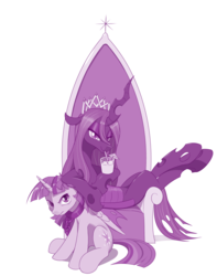 Size: 1280x1621 | Tagged: safe, artist:dstears, queen chrysalis, twilight sparkle, alicorn, changeling, changeling queen, pony, atg 2019, chains, collar, female, mare, monochrome, new crown, newbie artist training grounds, quadrupedal, throne, twilight is not amused, twilight sparkle (alicorn), unamused, victorious villain