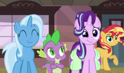 Size: 1812x1080 | Tagged: safe, artist:keronianniroro, edit, edited screencap, hundreds of users filter this tag, screencap, spike, starlight glimmer, sunset shimmer, trixie, dragon, pony, unicorn, all bottled up, adorable face, bisexual, crossed arms, cute, door, eyes closed, female, glimmerbetes, happy, male, mare, ponyville train station, saddle bag, train station, window