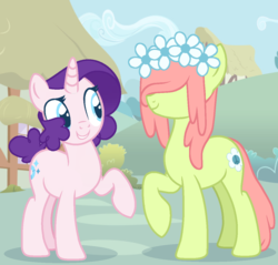 Size: 1176x1122 | Tagged: safe, artist:connorbal, oc, oc only, oc:flower child, oc:sequin sparkles, earth pony, pony, unicorn, female, floral head wreath, flower, magical lesbian spawn, mare, offspring, parent:fluttershy, parent:pinkie pie, parent:rarity, parent:tree hugger, parents:flutterhugger, parents:raripie