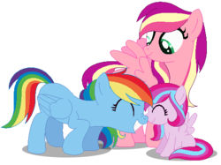 Size: 529x396 | Tagged: safe, artist:awoomarblesoda, rainbow dash, skywishes, oc, oc:misty meadow, pegasus, pony, base used, boop, female, filly, g3, g3 to g4, generation leap, lesbian, magical lesbian spawn, missing cutie mark, nose wrinkle, noseboop, offspring, parent:rainbow dash, parent:skywishes, shipping, simple background, transparent background