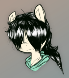 Size: 406x455 | Tagged: artist:whydomenhavenipples, bust, clothes, colored, color edit, earth pony, edit, gradient background, hair over eyes, hoodie, messy mane, oc, oc:floor bored, oc only, pony, portrait, safe, solo