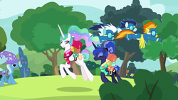 Size: 1920x1080 | Tagged: backpack, between dark and dawn, clothes, fleetfoot, fluttershy, lotta little things, pony, princess celestia, princess luna, safe, screencap, soarin', spoiler:s09e13, trixie, uniform, wonderbolts uniform