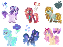 Size: 6000x4500 | Tagged: alicorn, artist:daydreamglimmeryt, bow, cutie mark, earth pony, ethereal mane, female, freckles, hair bow, leonine tail, magical lesbian spawn, mare, next generation, offspring, parent:applejack, parent:big macintosh, parent:fluttershy, parent:pinkie pie, parent:princess cadance, parent:rainbow dash, parent:rarity, parent:rockhoof, parents:flutterdance, parents:pinkiemac, parents:rockjack, parents:starity, parent:starlight glimmer, parents:twigian, parent:stygian, parents:vapordash, parent:twilight sparkle, parent:vapor trail, pegasus, pony, safe, simple background, starry mane, transparent background, unicorn, unshorn fetlocks