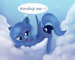 Size: 1703x1379 | Tagged: safe, artist:dusthiel, princess luna, alicorn, pony, atg 2019, bedroom eyes, bronybait, cloud, cute, dialogue, face down ass up, female, filly, filly luna, laying on cloud, leg fluff, looking at you, lunabetes, mare, moonbutt, newbie artist training grounds, praise the moon, s1 luna, smiling, solo, speech bubble, woona, younger