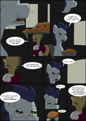 Size: 2480x3508   Tagged: safe, artist:greeneyedmistress, soarin', pony, comic:prelude to creation, clothes, colt, food, male, pie, stallion, that pony sure does love pies, unknown pony, younger