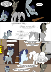 Size: 2480x3508   Tagged: safe, artist:greeneyedmistress, discord, soarin', pony, comic:prelude to creation, colt, kitchen, male, pony discord, stallion, toy, wooden sword, younger