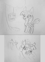 Size: 1700x2336 | Tagged: 2 panel comic, alicorn, artist:tjpones, bait, bat ponified, bat pony, bat pony alicorn, book, comic, ear fluff, fangs, female, grayscale, it's a trap, mare, monochrome, pencil drawing, pony, race swap, safe, simple background, solo, that pony sure does love books, traditional art, trap (device), twibat, twilight sparkle, twilight sparkle (alicorn)