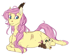 Size: 1725x1296 | Tagged: artist:loladotz, braid, child, draconequus, draconequus oc, duo, feather in hair, female, fluttermom, fluttershy, hybrid, interspecies offspring, looking at each other, mare, mother and daughter, next generation, oc, oc:wisteria, offspring, parent:discord, parent:fluttershy, parents:discoshy, pegasus, pony, prone, safe, scar, simple background, white background