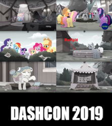 Size: 500x564 | Tagged: alicorn, animal costume, applejack, bush, butterfly, costume, dashcon, desaturated, edit, edited screencap, fake, fish costume, fluttershy, hope hollow, hotel room, karaoke, kiddie pool, meme, mud, mud bath, petunia petals, pinkie pie, pony, rainbow dash, rainbow roadtrip, rainbow trout, rainbow trout (character), rarity, reference, rubber duck, safe, screencap, spoiler:rainbow roadtrip, sunny skies, text edit, twilight sparkle, twilight sparkle (alicorn)