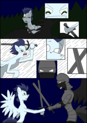 Size: 2480x3508   Tagged: safe, artist:greeneyedmistress, soarin', pony, comic:prelude to creation, clothes, comic, corpse, fight, male, stallion, unknown pony, weapon