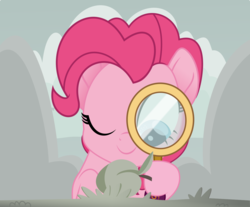 Size: 1346x1112 | Tagged: apricot, artist:crystalmagic6, cloud, earth pony, grass, magnifying glass, mountain, one eye closed, pinkie pie, pony, rainbow roadtrip, safe, simple background, solo, spoiler:rainbow roadtrip, wink