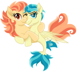 Size: 1500x1396 | Tagged: safe, artist:cloudyglow, aunt holiday, auntie lofty, seapony (g4), female, lesbian, lofty day, movie accurate, seaponified, shipping, simple background, smiling, species swap, transparent background