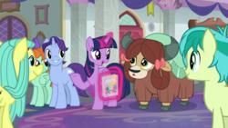Size: 1920x1080 | Tagged: safe, screencap, november rain, ocellus, peppermint goldylinks, sandbar, twilight sparkle, yona, alicorn, earth pony, pegasus, pony, unicorn, yak, she's all yak, bow, cloven hooves, disguise, disguised changeling, female, friendship student, hair bow, magic, magic aura, male, mare, pony ocellus, raised hoof, stallion, telekinesis, twilight sparkle (alicorn)
