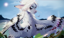 Size: 3606x2137 | Tagged: safe, artist:yannothing, oc, oc only, pegasus, pony, beautiful, cloud, colored wings, floppy ears, fluffy, lake, multicolored wings, neck fluff, outdoors, sky, solo, spread wings, sun, white mane, windswept mane, wings