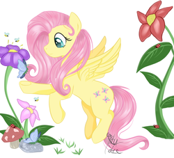 Size: 1100x1000 | Tagged: artist:emptyfaze, bee, butterfly, female, flower, fluttershy, ladybug, looking at something, mare, mushroom, nature, outdoors, pegasus, pony, reaching, reaching out, safe, simple background, smiling, solo, spread wings, stray strand, white background, wings