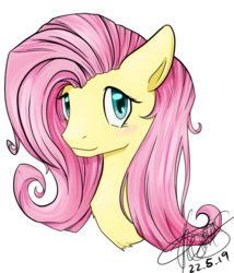 Size: 600x700 | Tagged: artist:emptyfaze, blushing, bust, female, fluttershy, looking at you, mare, pegasus, pony, portrait, safe, simple background, smiling, solo, three quarter view, transparent background