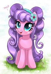Size: 880x1273   Tagged: safe, artist:joakaha, petunia petals, earth pony, pony, rainbow roadtrip, cute, dialogue, female, hello, mare, petalbetes, pigtails, solo
