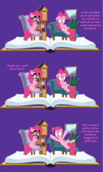 Size: 1287x2157 | Tagged: book, caption, clock, comedy, comic, couch, dave the barbarian, duality, edited screencap, fame and misfortune, flawless, funny, groucho mask, image macro, meme, pinkiatrist, pinkie pie, plant, reference, safe, screencap, screencap comic, self ponidox, text, therapist, therapy, twinkle the marvel horse