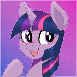 Size: 1056x1056 | Tagged: safe, artist:frostedvulpix, twilight sparkle, pony, blushing, bust, cute, female, gradient background, mare, open mouth, portrait, solo, twiabetes
