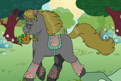 Size: 1200x800 | Tagged: artist:69bea, basket, carrot, clothes, digital art, food, glasses, happy, male, oc, oc:luri, oc only, pony, saddle, safe, smiling, solo, stallion, tack, trotting, unicorn