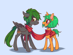 Size: 1084x813 | Tagged: artist:dreamyri, artist:goatsocks, carrot, clothes, food, oc, oc:feather dust, oc:flitter flutter, pegasus, safe, scarf, unicorn