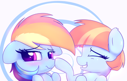 Size: 3600x2300 | Tagged: safe, artist:heavymetalbronyyeah, rainbow dash, windy whistles, pegasus, pony, blushing, boop, bust, chest fluff, cute, dashabetes, ear fluff, eyes closed, female, floppy ears, happy, high res, like mother like daughter, like parent like child, looking at you, mother and daughter, motherly love, mothers gonna mother, portrait, shoulder fluff, smiling, windybetes