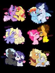 Size: 1280x1691 | Tagged: safe, artist:romania-lanslide, applejack, cheese sandwich, derpy hooves, fluttershy, lily blossom, pinkie pie, rainbow dash, rarity, soarin', sunset shimmer, thunderlane, twilight sparkle, alicorn, pony, cheesepie, derpyjack, female, flutterblossom, lesbian, male, rarilane, shipping, simple background, soarindash, straight, sunsetsparkle, transparent background, twilight sparkle (alicorn)