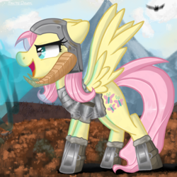 Size: 2048x2048 | Tagged: artist:dreaming-roses, badass, badass adorable, clothes, cosplay, costume, crossover, cute, dovahshy, flutterbadass, fluttershy, helmet, horned helmet, open mouth, pegasus, pony, profile, safe, skyrim, solo, the elder scrolls, thu'um
