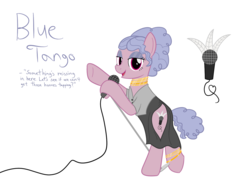 Size: 1300x1000 | Tagged: artist:mightyshockwave, clothes, dress, eyeshadow, makeup, microphone, oc, oc:blue tango, safe, thigh window