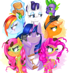 Size: 1088x1136 | Tagged: alicorn, alternate timeline, amputee, apocalypse dash, applejack, artificial wings, artist:dreaming-roses, artist:sacred-dreams, artist:the-sacred-rose, augmented, bust, chrysalis resistance timeline, crystal war timeline, dragon, earth pony, eye scar, female, fluttershy, frown, hourglass, looking at you, magic, male, mane seven, mane six, mare, mechanical wing, narrowed eyes, night maid rarity, nightmare takeover timeline, pegasus, pinkie pie, pony, prosthetic limb, prosthetics, prosthetic wing, rainbow dash, rarity, safe, scar, scroll, simple background, spike, telekinesis, the cutie re-mark, traditional art, transparent background, twilight sparkle, twilight sparkle (alicorn), unicorn, wings, worried