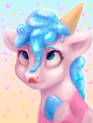 Size: 2894x3833 | Tagged: safe, artist:гусь, earth pony, food pony, original species, pony, candy, female, food, ice cream, ice cream cone, ice cream mane, licking, licking lips, mare, ponified, simple background, smiling, solo, sprinkles, tongue out, whipped cream
