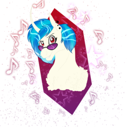 Size: 2360x2360 | Tagged: artist:xxhuntersguardianxx, bust, chest fluff, curved horn, dj pon-3, ear piercing, earring, female, glasses, grin, horn, jewelry, mare, music notes, piercing, pony, raised eyebrow, red eyes, safe, simple background, smiling, solo, stars, transparent background, unicorn, vinyl scratch, wrong eye color