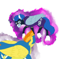 Size: 2360x2360 | Tagged: artist:xxhuntersguardianxx, circling, clothes, confrontation, costume, duo, ear fluff, fanfic art, fanfic:piercing the heavens, female, grin, mare, missing accessory, nightshade, pegasus, pony, safe, shadowbolts costume, simple background, smiling, spitfire, standoff, transparent background, uniform, unshorn fetlocks, wonderbolts uniform