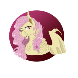 Size: 2100x2100 | Tagged: artist:xxhuntersguardianxx, bat ponified, bat pony, bust, chest fluff, ear fluff, fangs, female, flutterbat, fluttershy, looking at you, mare, one wing out, open mouth, pony, race swap, raised eyebrow, safe, simple background, solo, transparent background, wing claws