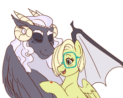 Size: 1511x1207 | Tagged: safe, artist:miatsukyyy, oc, oc only, oc:florencia, oc:lux, dracony, hybrid, female, interspecies offspring, male, offspring, parent:discord, parent:fluttershy, parent:princess luna, parent:spike, parents:flutterspike, parents:lunacord, simple background, white background