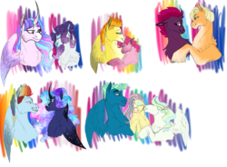 Size: 3186x2350 | Tagged: alicorn, alternate hairstyle, alternate universe, applejack, artist:xxhuntersguardianxx, broken horn, bust, crack shipping, curved horn, earth pony, ethereal mane, eyes closed, female, floppy ears, fluttershy, flutterstinger, galaxy mane, grin, hatless, horn, kissing, lesbian, lidded eyes, looking at each other, lunadash, male, mare, missing accessory, nuzzling, pegasus, pinkie pie, polyamory, pony, princess luna, rainbow dash, rainbow power, rarilight, rarity, redesign, safe, shipping, simple background, sky stinger, smiling, spitfire, spitpie, stallion, starry mane, straight, tempestjack, tempest shadow, transparent background, twilight sparkle, twilight sparkle (alicorn), unicorn, vaporshy, vaporsky, vaporskyshy, vapor trail