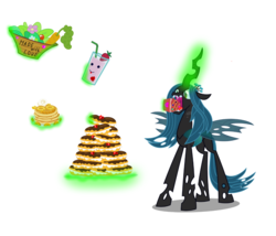 Size: 1400x1200 | Tagged: artist:seahawk270, cake, carrot, changeling, changeling queen, eating, eclair, edit, female, food, hungry, juice, love, pancakes, queen chrysalis, safe, solo, strawberry, vector