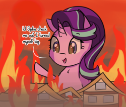 Size: 2189x1863   Tagged: safe, artist:artiks, starlight glimmer, pony, unicorn, burning, dialogue, female, fire, giant pony, giant starlight glimmer, giantess, implied spike, macro, mare, ponyville, solo, some mares just want to hear them everyone/everypony scream for no reason, some mares just want to watch the world burn, xk-class end-of-the-world scenario