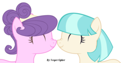 Size: 3185x1630 | Tagged: safe, artist:vesper-cipher-dark, coco pommel, suri polomare, earth pony, pony, boop, cocobetes, cocopolo, cute, eyes closed, female, headband, lesbian, mare, noseboop, shipping, signature, simple background, smiling, suribetes, white background