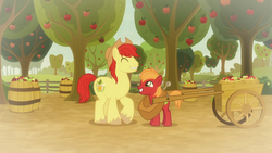 Size: 1920x1080 | Tagged: safe, screencap, big macintosh, bright mac, earth pony, pony, going to seed, spoiler:s09e10, apple, apple orchard, apple tree, barrel, big macintosh's yoke, bittersweet, cart, colt, colt big macintosh, cute, duo, eyes closed, father and son, food, grin, like father like son, male, raised hoof, smiling, stallion, tree, yoke, younger