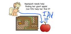 Size: 1921x939 | Tagged: safe, artist:heir-of-rick, artist:nltlf, edit, applejack, earth pony, pony, daily apple pony, apple, cane, carrot, comic sans, female, food, hidden cane, mare, maze, op is a genius, solo, strawberry, you're doing it wrong