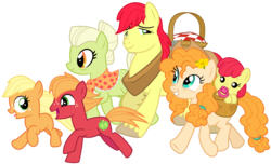 Size: 5250x3200 | Tagged: apple bloom, apple family, applejack, artist:cheezedoodle96, baby, baby apple bloom, baby pony, big macintosh, bright mac, colt, colt big macintosh, cowboy hat, cute, earth pony, eye contact, family, female, filly, filly applejack, flower, flower in hair, foal, freckles, going to seed, granny smith, hat, laughing, looking at each other, male, mare, pacifier, pear butter, picnic blanket, pony, running, safe, shawl, simple background, spoiler:s09e10, stallion, svg, .svg available, the whole apple family, transparent background, unshorn fetlocks, vector, walking, yoke, younger, young granny smith