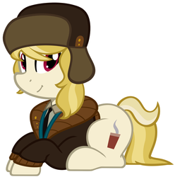 Size: 1280x1290 | Tagged: safe, artist:furrgroup, march gustysnows, earth pony, pony, cute, female, hat, mare, necktie, prone, simple background, solo, ushanka, white background