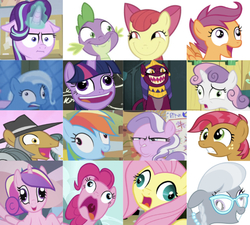 Size: 639x574 | Tagged: safe, artist:tiarawhy, edit, edited screencap, editor:undeadponysoldier, screencap, apple bloom, babs seed, diamond tiara, fluttershy, igneous rock pie, pinkie pie, princess cadance, rainbow dash, scootaloo, silver spoon, sphinx (character), spike, starlight glimmer, sweetie belle, trixie, twilight sparkle, alicorn, dragon, earth pony, pegasus, pony, sphinx, unicorn, best gift ever, campfire tales, crusaders of the lost mark, daring done?, fall weather friends, filli vanilli, games ponies play, just for sidekicks, marks for effort, one bad apple, school raze, the cutie mark chronicles, to where and back again, too many pinkie pies, adorababs, adorable face, adoracreepy, bow, cadenceflash, caption, chalkboard, collection, creepy, creepy smile, crown, cute, cutedance, cutie mark crusaders, derp, diamondbetes, faic, fangs, female, filly, freckles, funny, glasses, glowing horn, horn, i mean i see, image macro, jewelry, looking at each other, male, mare, necklace, open mouth, pearl necklace, pudding face, rapeface, regalia, shipping, silly face, silverbetes, smiling, sphinxdorable, spikebloom, stallion, straight, text, tiara, twilight sparkle (alicorn)