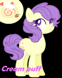 Size: 772x972 | Tagged: safe, artist:comet-swirls, cream puff, earth pony, pony, black background, reference sheet, simple background